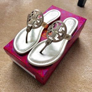 Tory Burch Miller Sandals Gold Metallic Leather 8